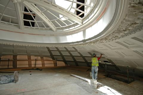 Baldwin Auditorium dome being worked on