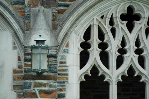 Closeup of stone detail on a gothic style building