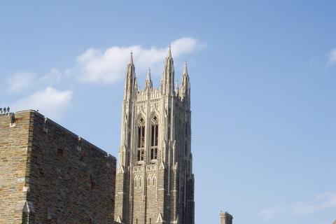 Chapel tower seen from plaza