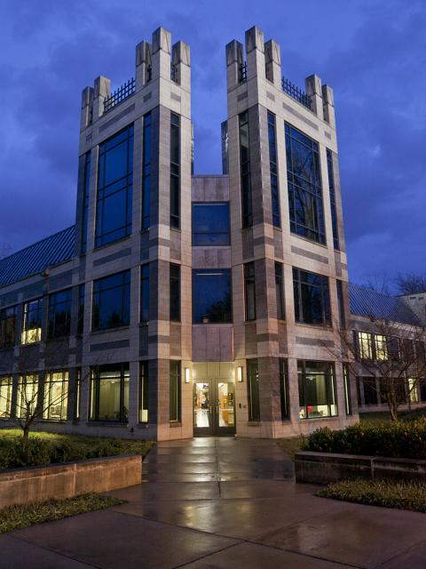 Rubenstein building at night